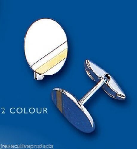 Oval Cufflinks Solid Sterling Silver Yellow Gold Stripe